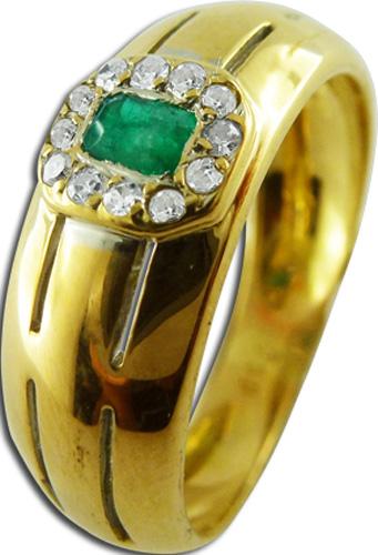Ring in Gelbgold 750/- mit 1 Smaragd 12 Brillanten, 16mm