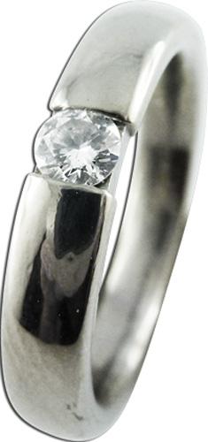 Ring mit 1 Brillanten  585/- Weissgold, 16mm
