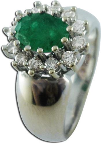 Ring  in  Weißgold 585/- mit 1 Smaragd und 12 Brillanten, 16mm