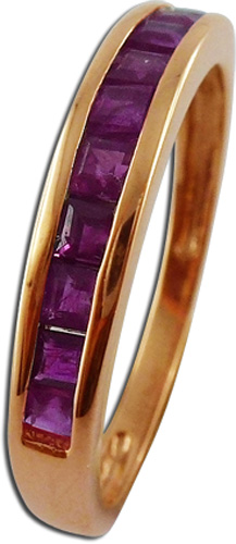 Ring in  Rotgold 333/- mit 10 Rubinen, 17mm