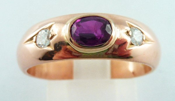 Ring Rotgold 585 1 Rubin 2 Brillanten 18mm
