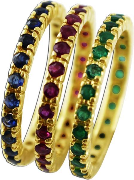 Ringe 3-teilig 585er Gelbgold 25 Rubine 25 Saphire 25 Smaragde