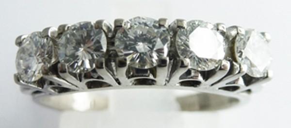 Ring in Weissgold 750/-, 5 Brillanten 0,...