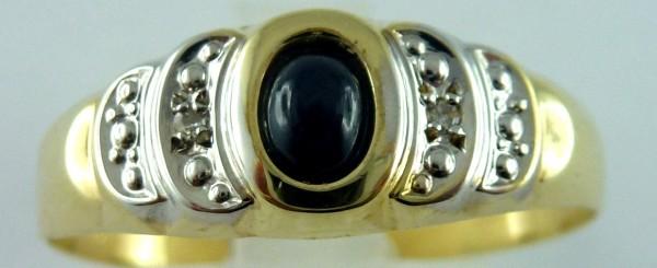 Ring Saphirring Gelbgold 8Kt  Saphircabochon  2 Diamanten zus 0,01ct  8/8 W/P