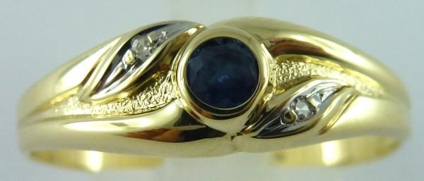 Ring  Saphirring  Gelbgold 333/-  Saphir  2 Diamanten  8/8 W/P