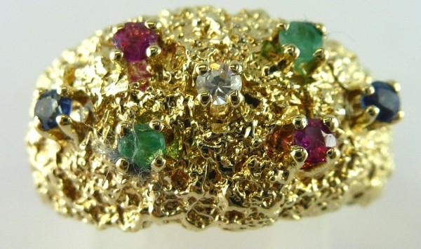 Ring Gelbgold 585/- 2 Smaragde 2 Rubine 2 Saphire 1 Diamant 0,02ct  TW/SI Lapponia