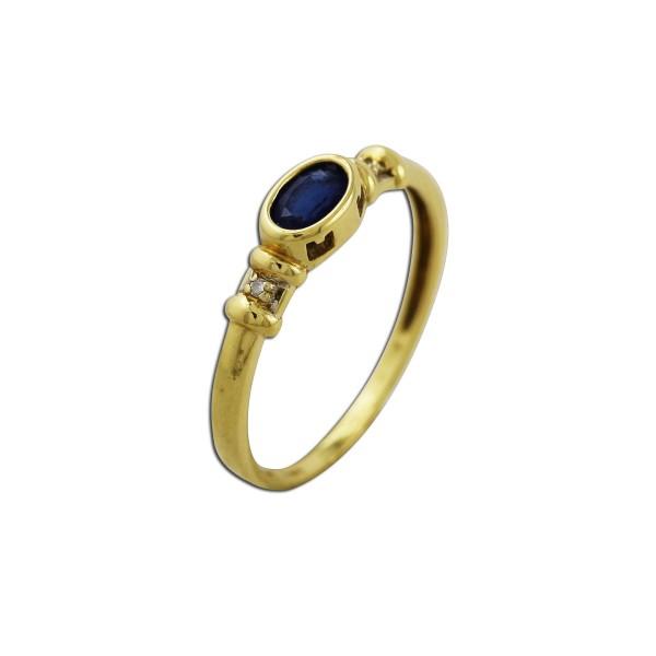 Saphirring – Edelsteinring Gelbgold  585/- mit 2 Diamanten 8/8 W/P
