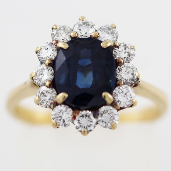 Ring Gelbgold 750 Saphir ca 2,5ct  Brill...