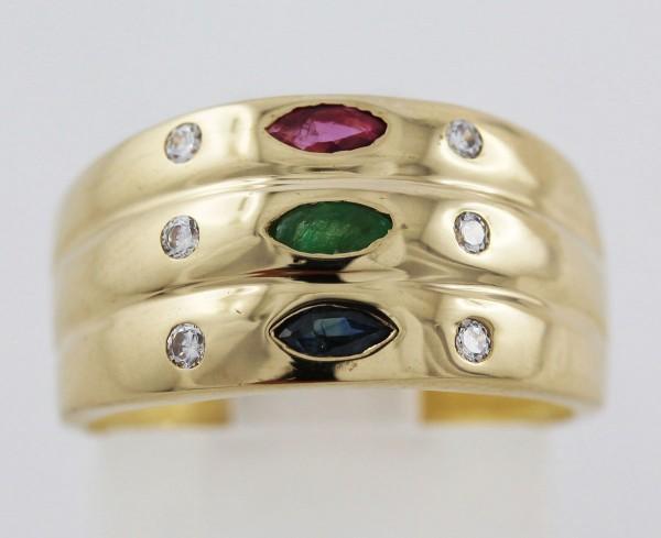 Edelsteinring – Goldring Gelbgold 333 Rubin Smaragd Saphir 6 Diamante 0,06ct 8/8 W/P