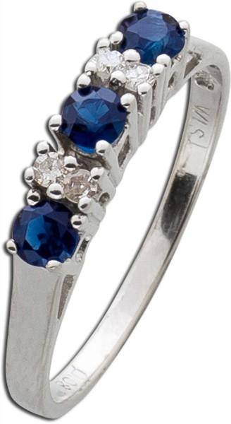 Ring – Goldring Weißgold 585 3 Saphire 4 Diamanten 0,04ct W/P