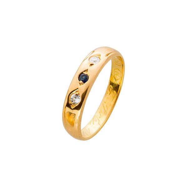 Ring – Damenring Antik Gelbgold 750 Saphir 2 Diamanten 0,06ct TW/SI