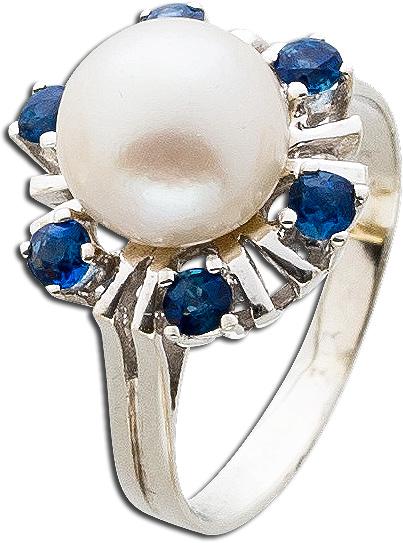 Ring – Perlenring Antik Weißgold 585 japanische Akoyazuchtperle 6 Saphire