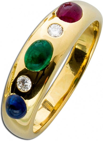 Ring – Edelsteinring Gelbgold 750 Rubin Saphir Smaragd 2 Brillanten 0,016ct TW/VSI