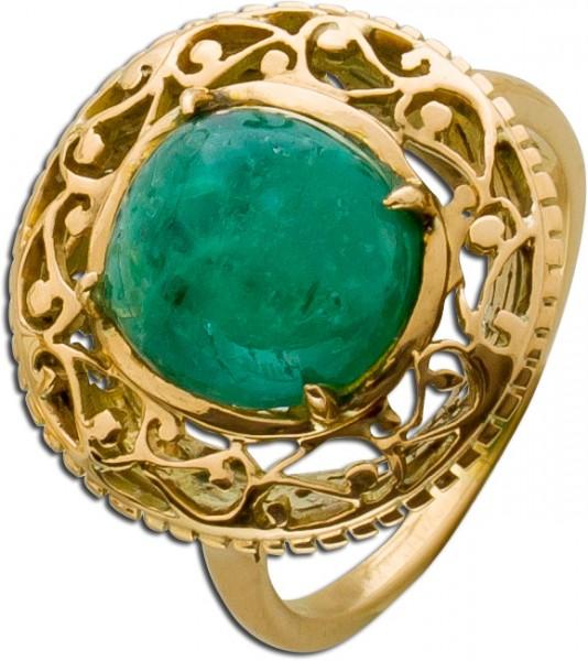Smaragdring Gelbgold 585 Cabouchon Schli...