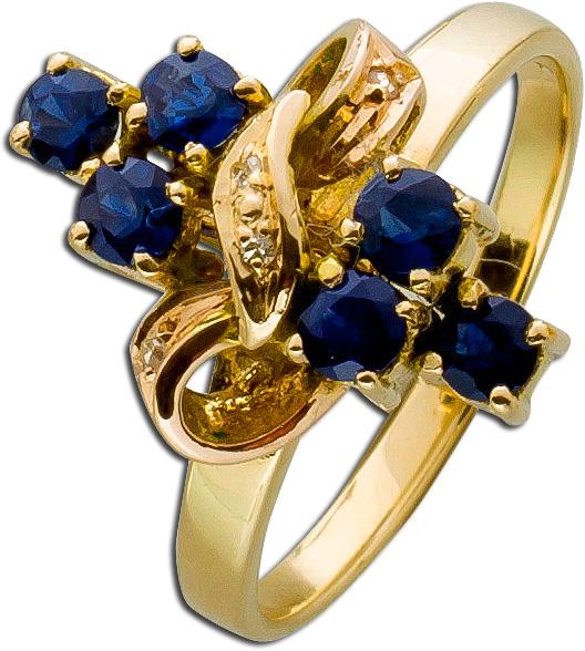 Ring antik Edelsteinring Gelbgold 585 Sa...