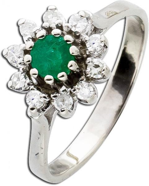 Smaragdring Diamantring Weissgold 585