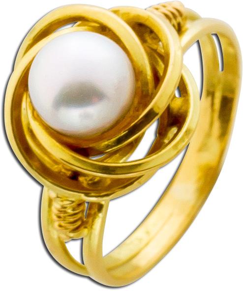 Ring Gelbgold 585 japanische Akoyazuchtp...