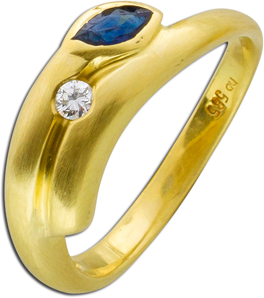Ring Gelbgold 585 Saphir Brillant 0,05ct...