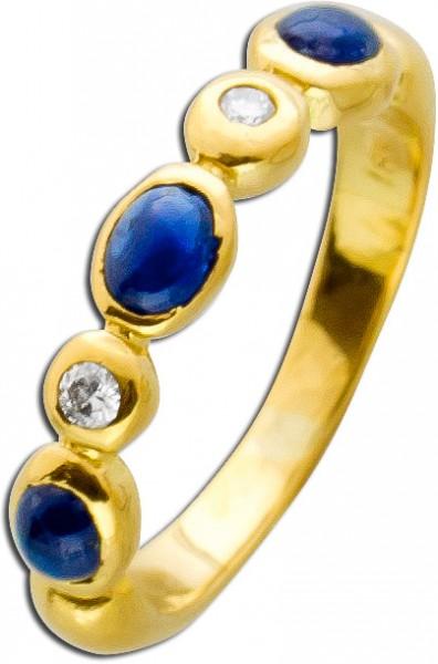 blauer Ring Edelsteinring Gelbgold 750 3...