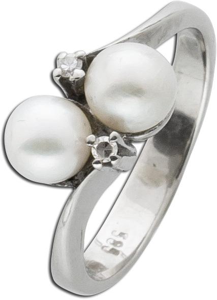 Ring Perlenring Weißgold 585 Akoyazuchtperlen Diamanten 0,02ct 8/8 W/SI