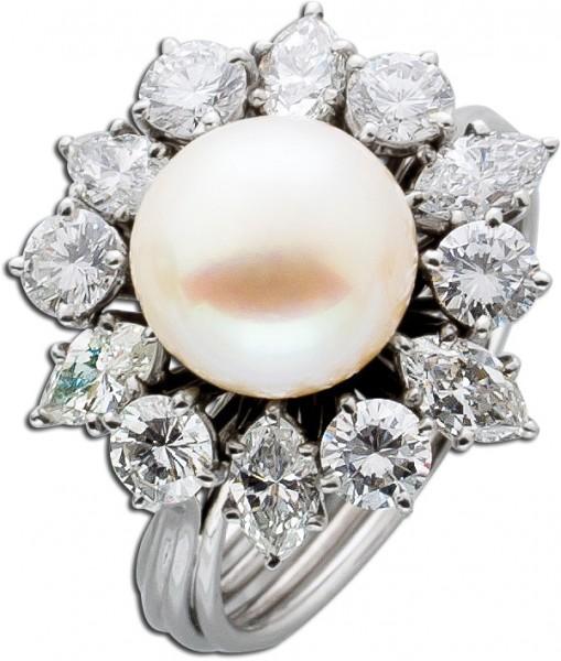 Perlenring Diamantring Weißgold 750 Perle 9mm 6 navette Diamanten Brillanten 2,30ct River-TW/VVS-VSI IGI Zertifikat