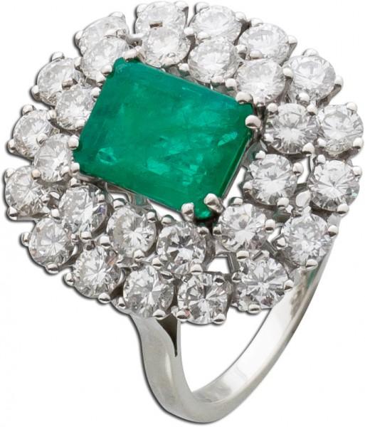 Ring Edelsteinring WG 585 grüner Smarag...