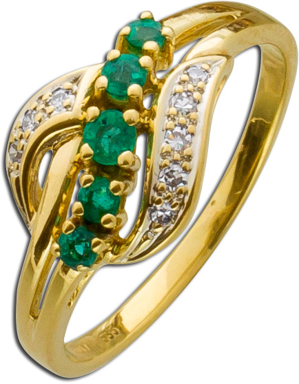 Ring – Smaragdring Gelbgold 585 8 ...