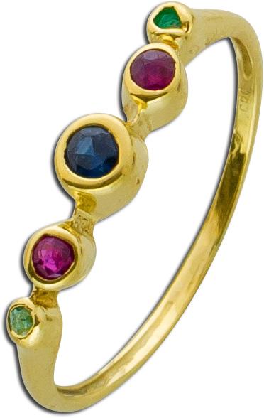 Ring – Edelsteinring Antik Gelbgold 585 Rubin Saphir Smaragd