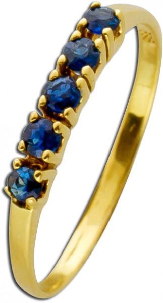 Saphirring Gelbgold 585 blaue Saphir Ede...