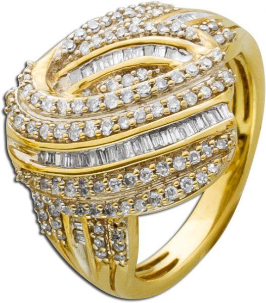 Diamantring Gelbgold 333 147 Diamanten Baguetteschliff  Achtkantschliff Total 1,00ct W/SI Onlineschnäppchen
