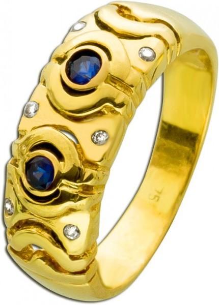 Antiker Saphirring Gelbgold 750 18 Karat...