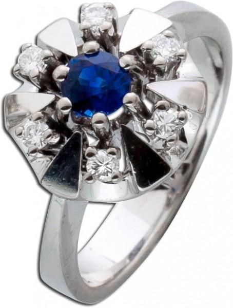 Antiker blauer Safir Ring Weißgold 585 Diamant 0,06ct TW/VSI Saphir