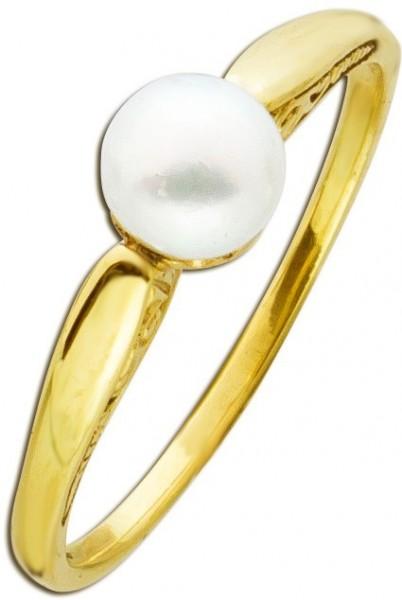Perlenring mit japanischer Akoyaperle Gelb Gold 585
