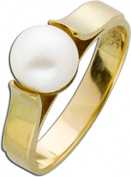 Klassischer Perlenring Gelbgold 585 Span...