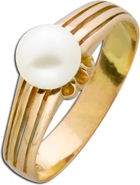 Antiker Perlenring Solitäroptik 20er Ja...