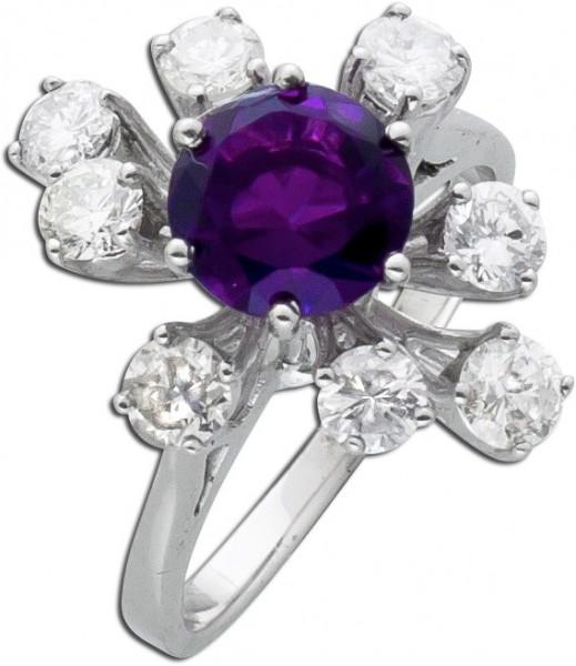 Amethystring – Diamantring Blumeno...