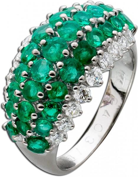 Ring Weißgold 750 18K echten grünen Smaragden 18 Brillanten mit IGI Zertifikat
