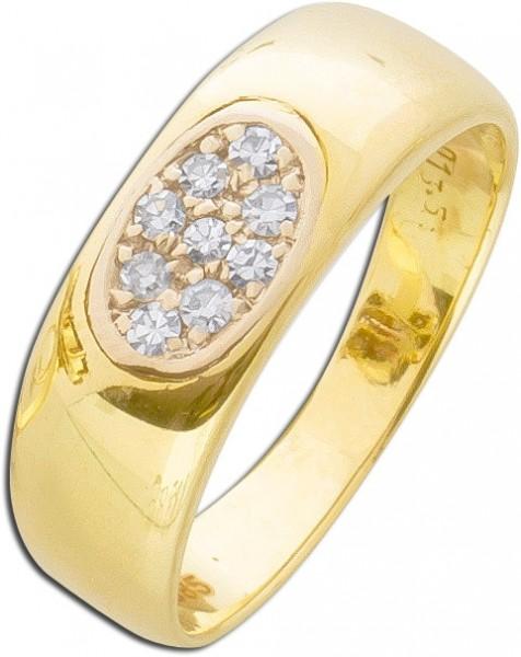 Antiker Diamantring Gelbgold 585 Diamant  0,18ct  8/8 TW/VSI oval
