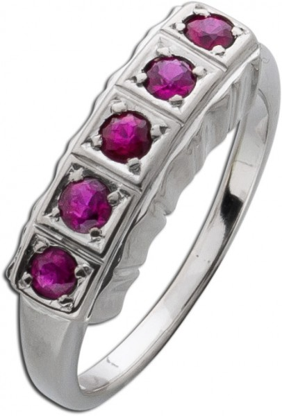 Antiker Ring Alliance Weissgold 750 rote...
