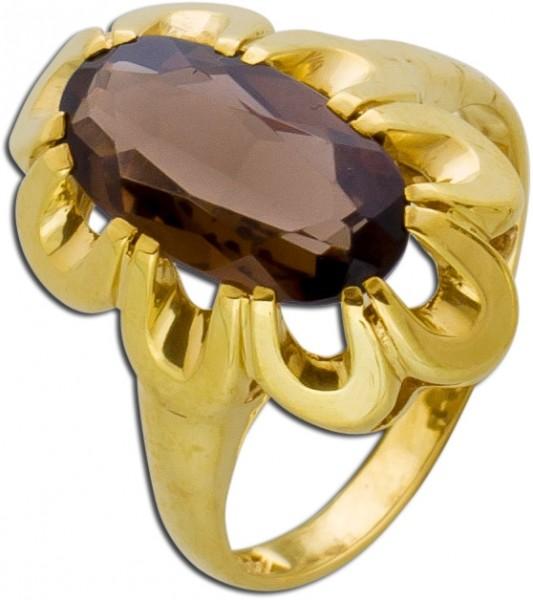 Antiker Edelsteinring Gelbgold 333 braun...