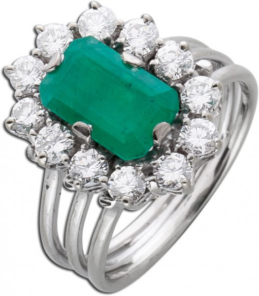 Ring Lady Di Weissgold 585 Smaragd Edels...