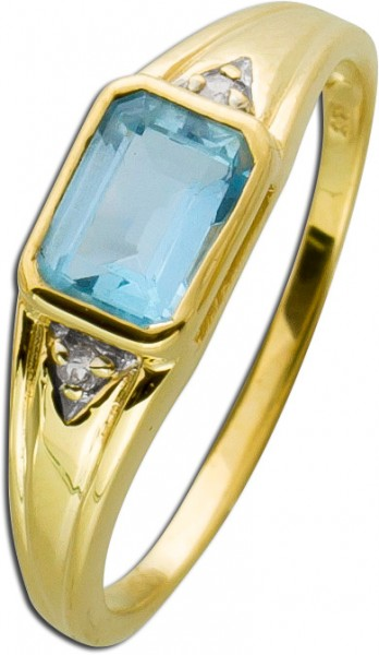 Blautopas-/Diamant-Ring Gelbgold 333 W/S...