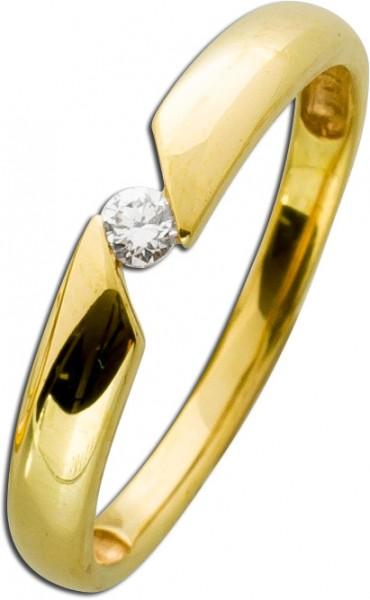 Brillant-Ring Gelbgold 333 0,07 ct TW/VS...