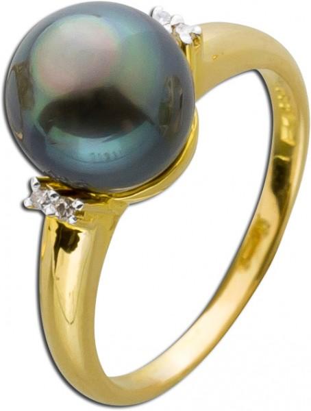 Diamantring Gelbgold 585  mit Tahiti Per...