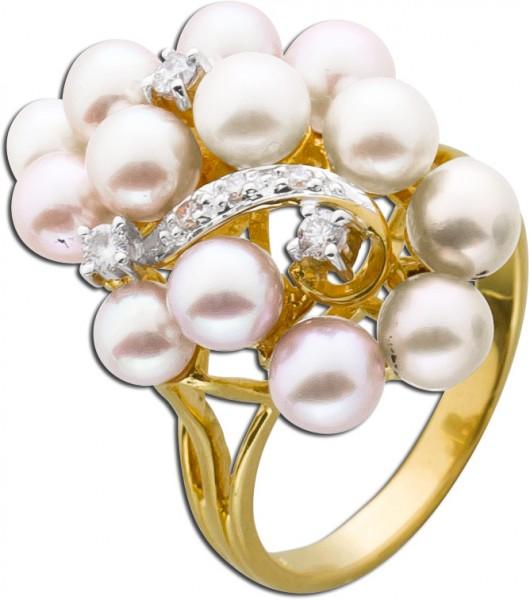 Ring Rebform Gelbgold 585 Süsswasserzuchtperlen Brillanten TW/VSI
