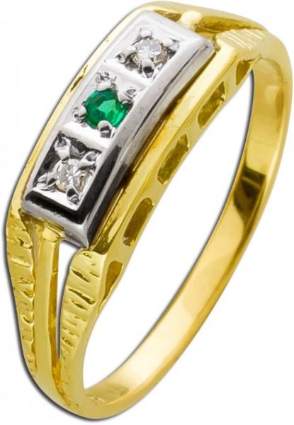 Antiker Smaragdring Gelbgold Weißgold D...