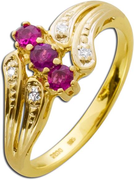 Ring Gold 585 rote Rubine Diamanten 8/8 ...