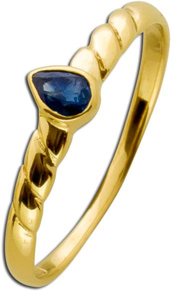 Ring Vintage Look Weissgold 333 blauer S...