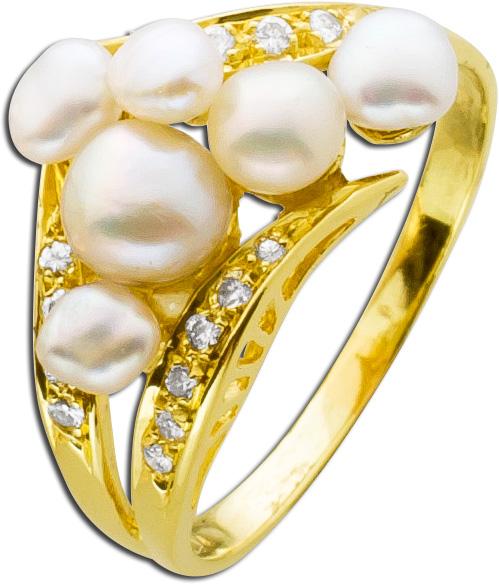Ring Gelbgold 750 Biwazuchtperlen Brillanten