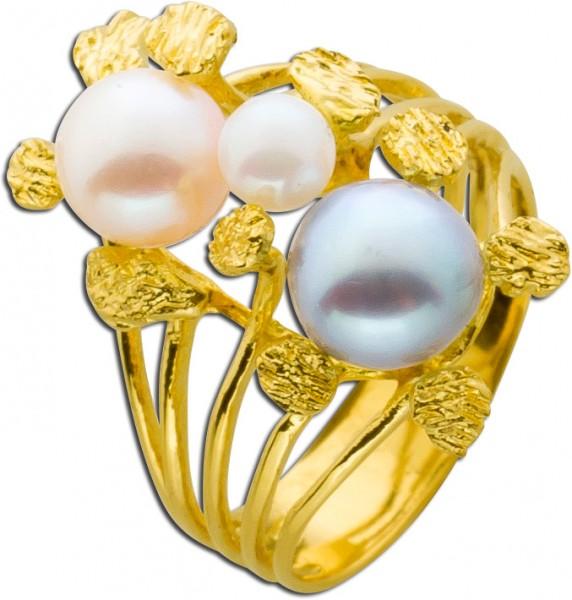 Ring Gelbgold 750 graue Akoyazuchtperle